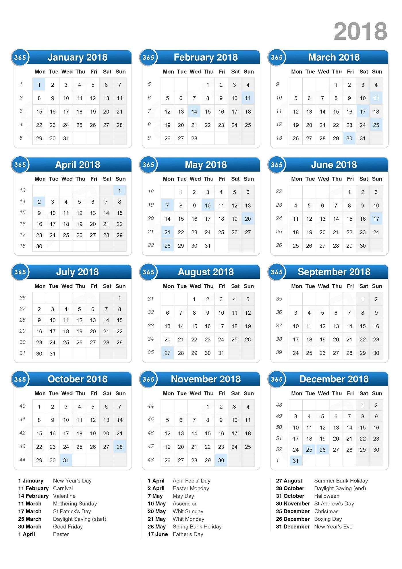 free calendar 2018 image