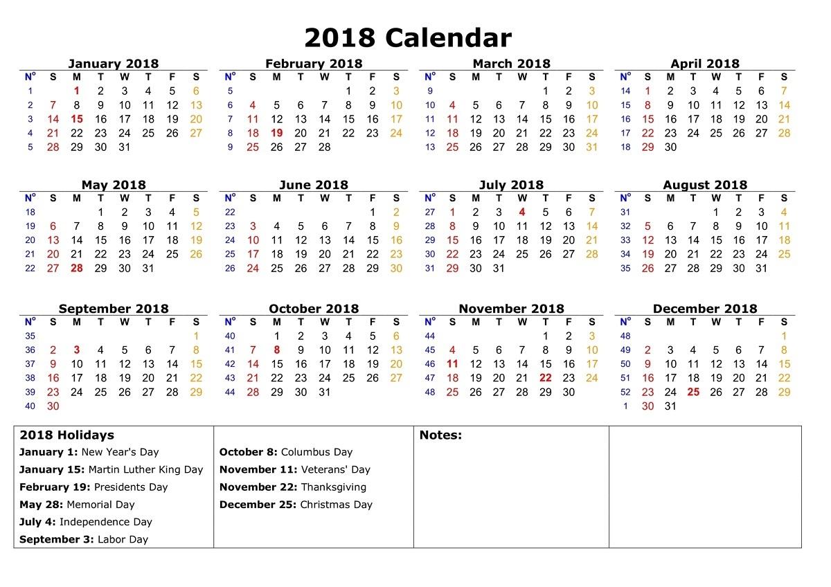 free calendar 2018 page