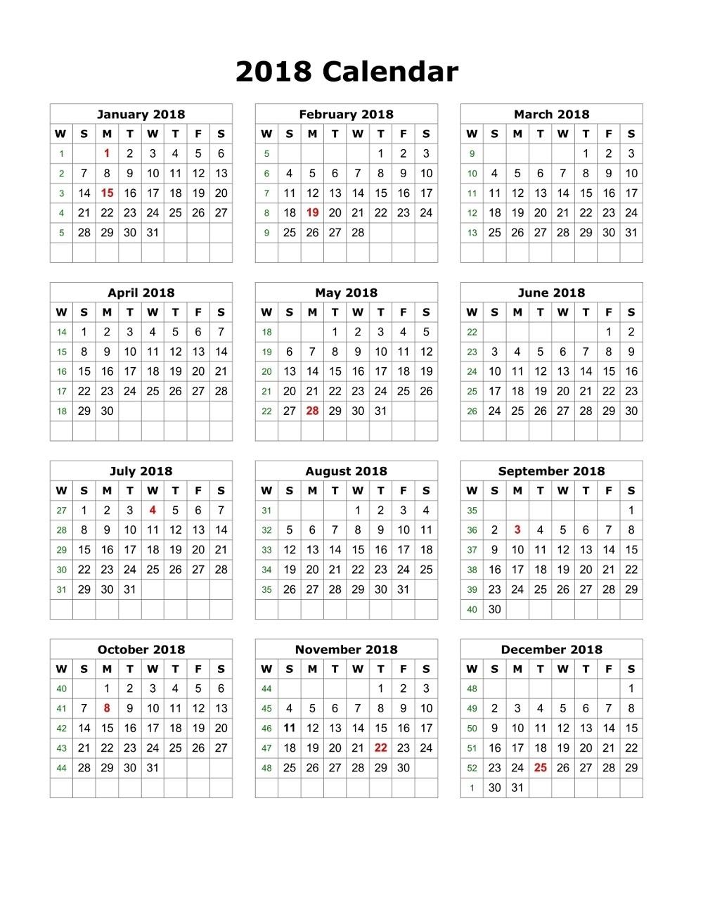 free calendar 2018 printable