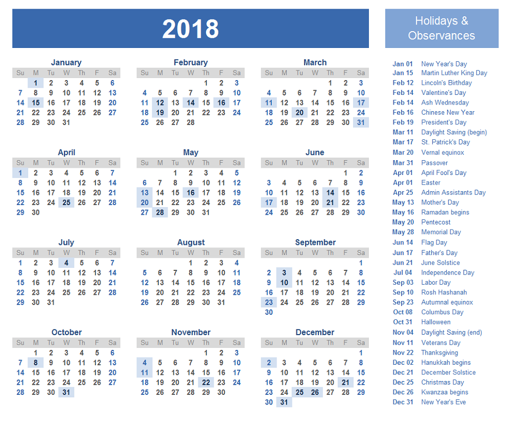 free calendar 2018 with holiday