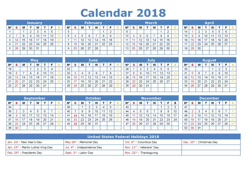 free calendar 2018 yearly
