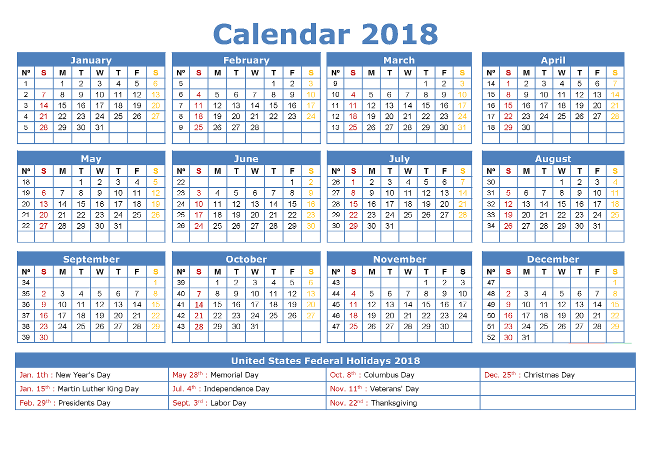 free calendar 2018 yearly