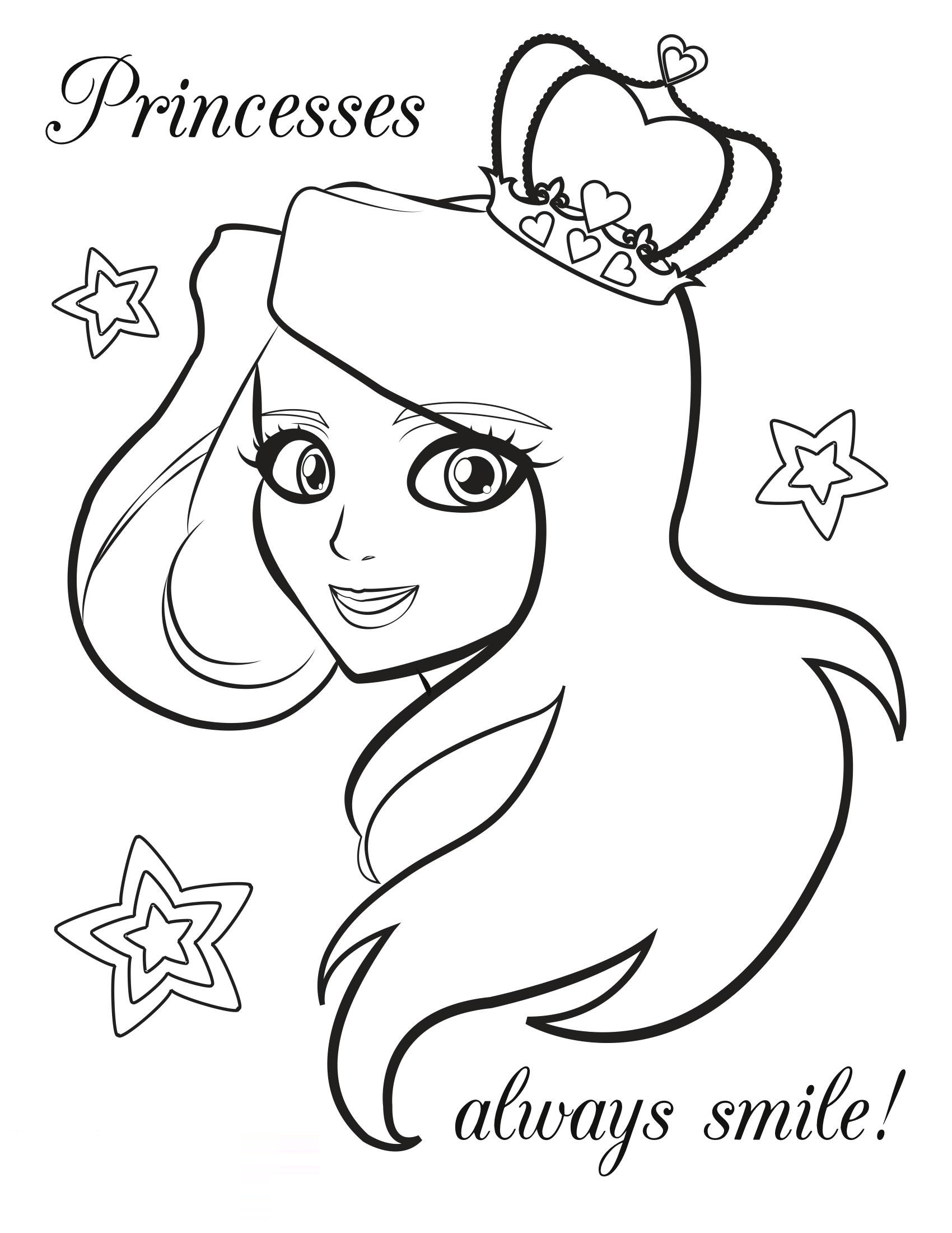 Free Coloring Book Pages for Kids Princess