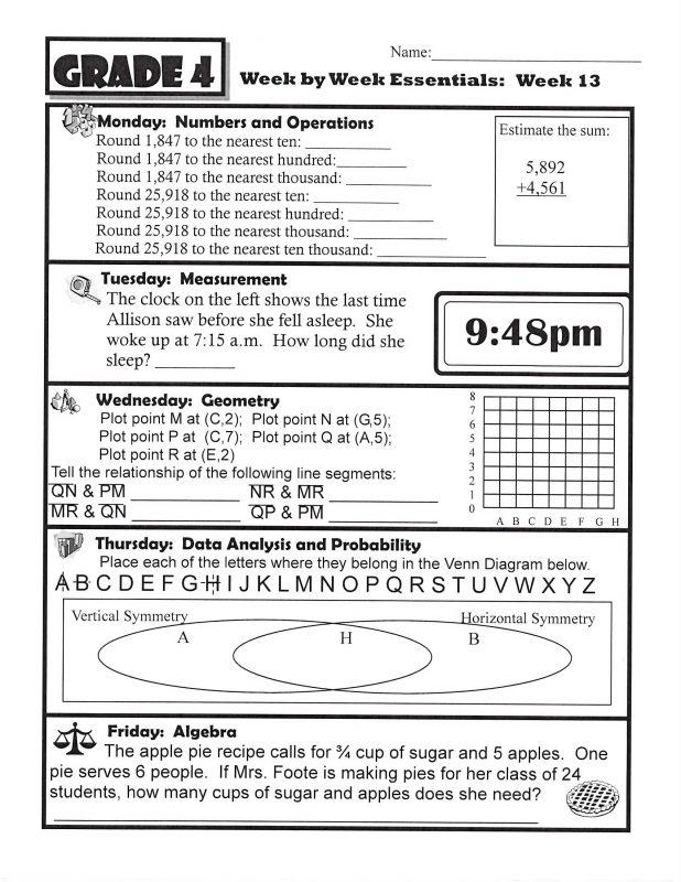 Homework Sheets Math
