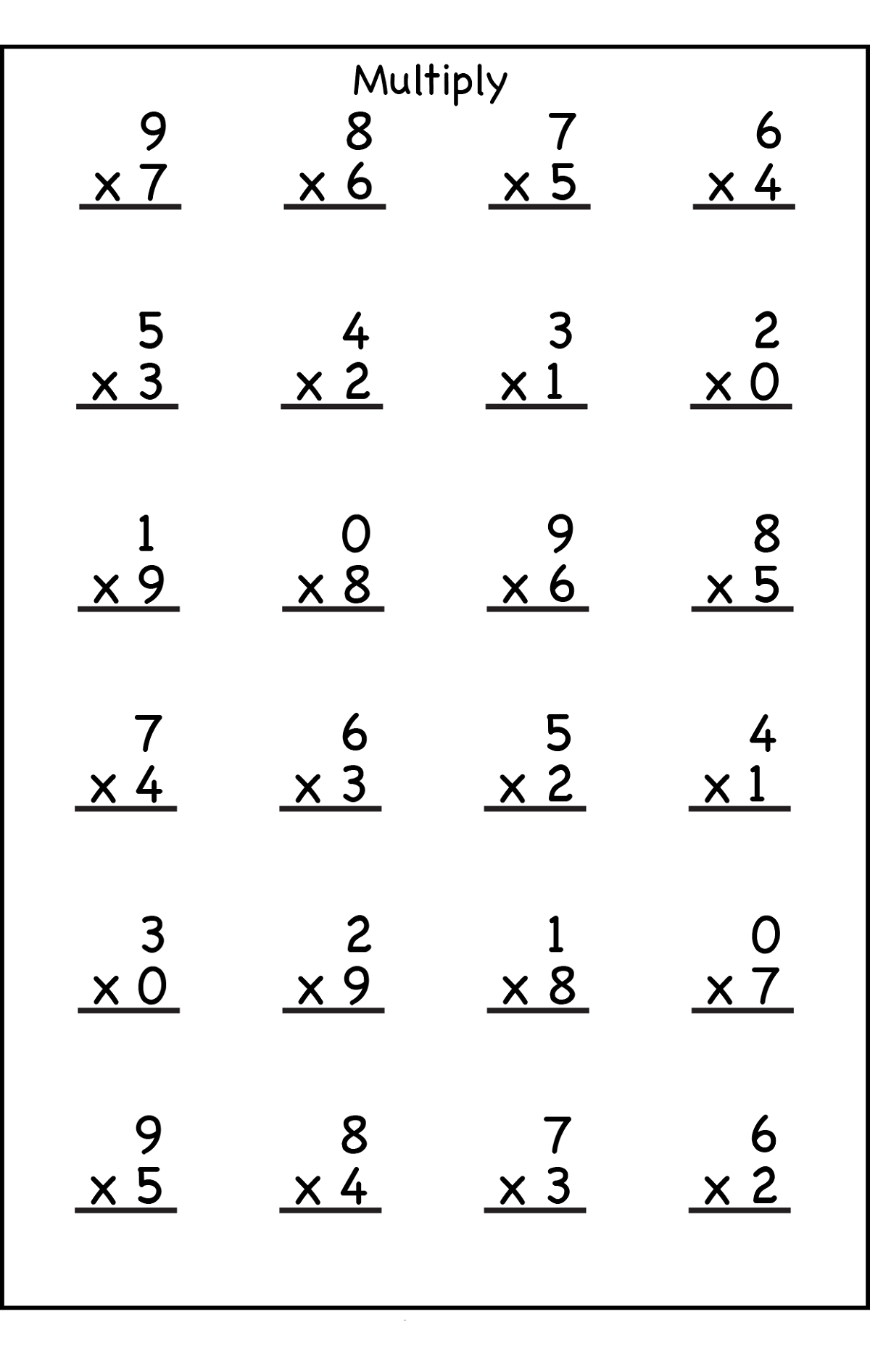Multiplication Worksheet for 3rd Grade