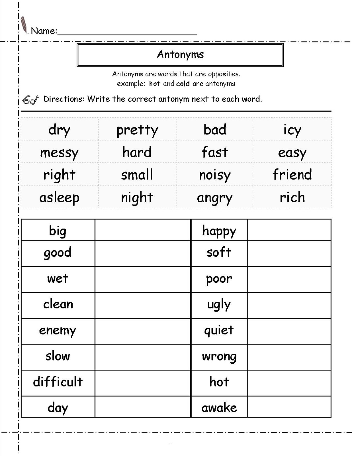 Second Grade Worksheets English