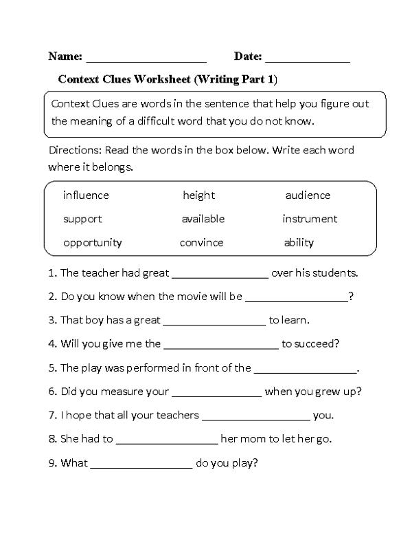 Third Grade Worksheets English