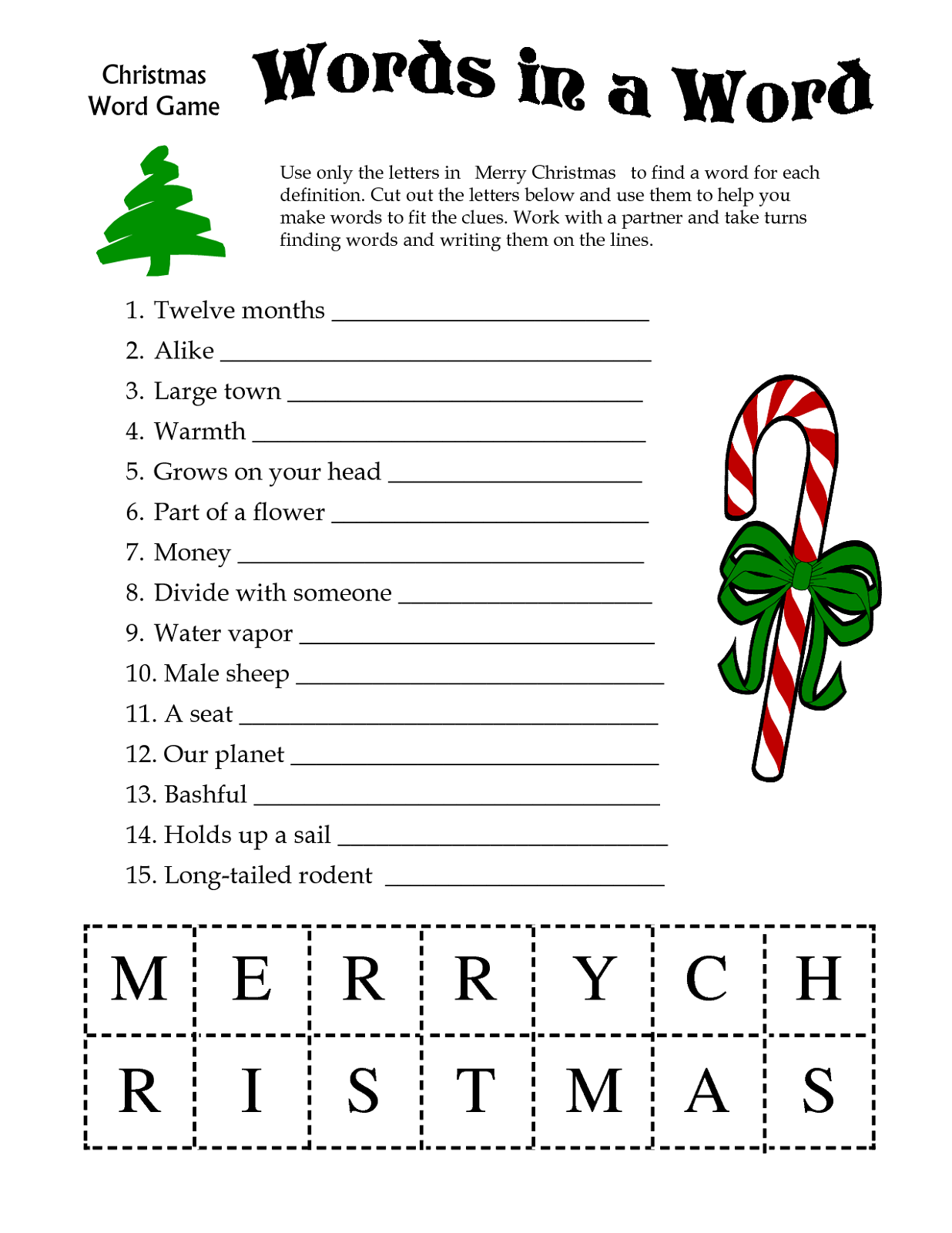Free Printable Games for Adults Words