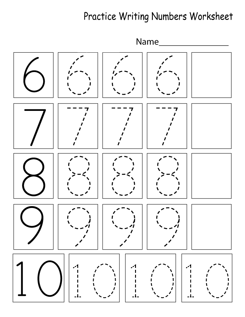 Math Practice Worksheets Number