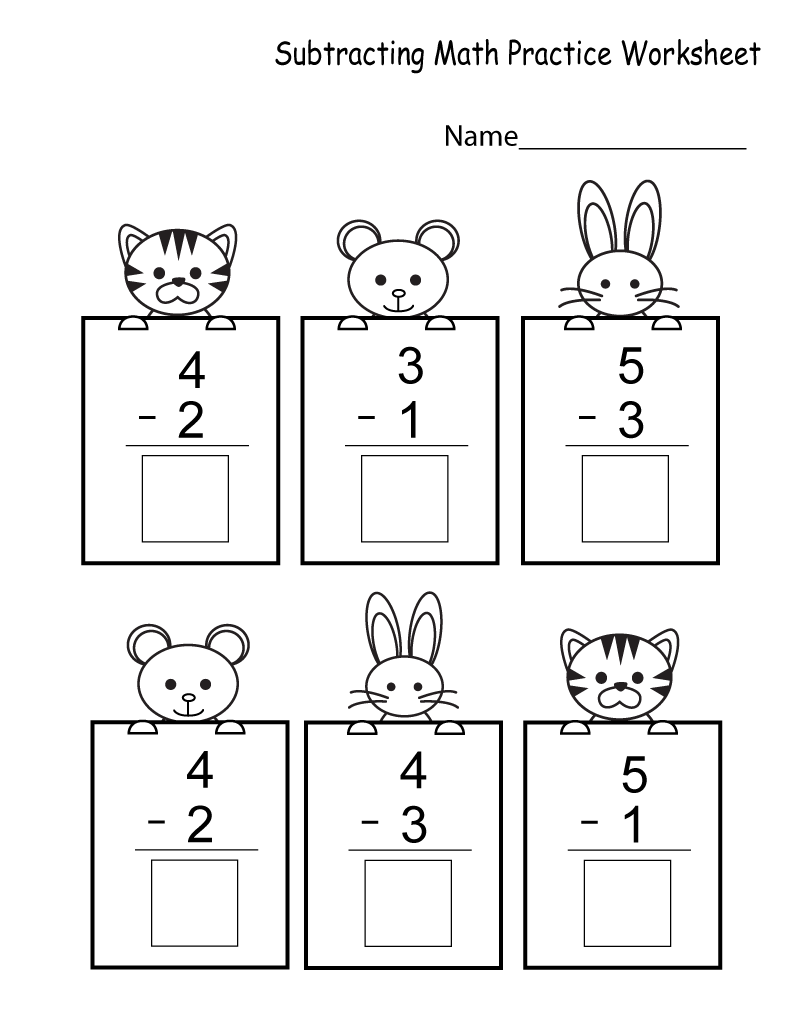 Math Practice Worksheets Subtraction
