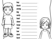 Printable Activities for Children Opposites