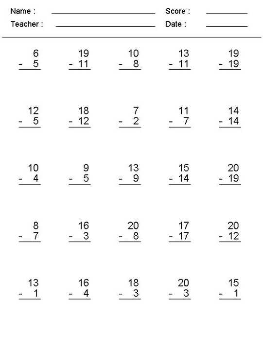Make Your Own Math Worksheets Subtraction