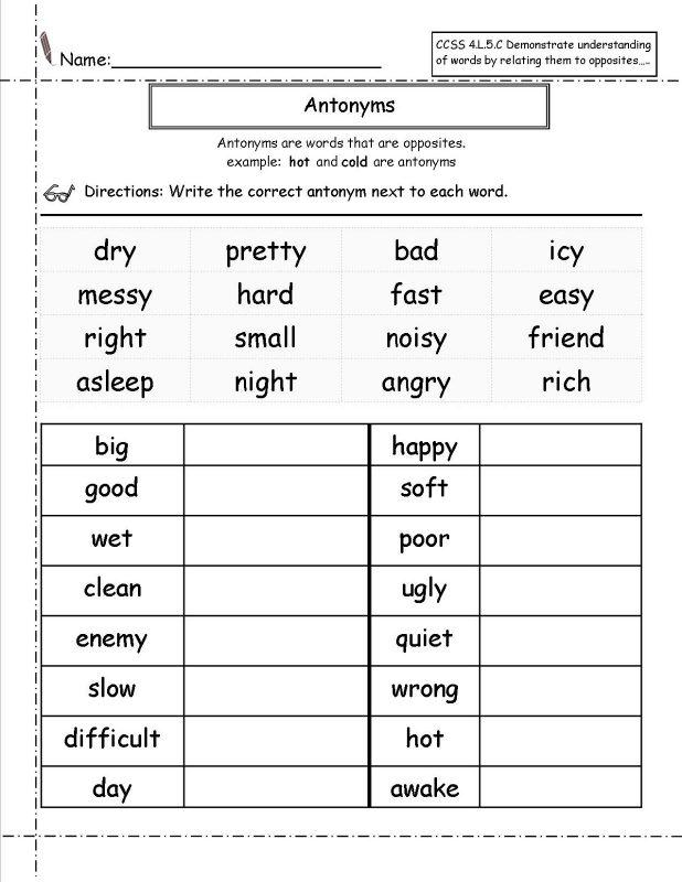 Worksheets for Grade 1 Language