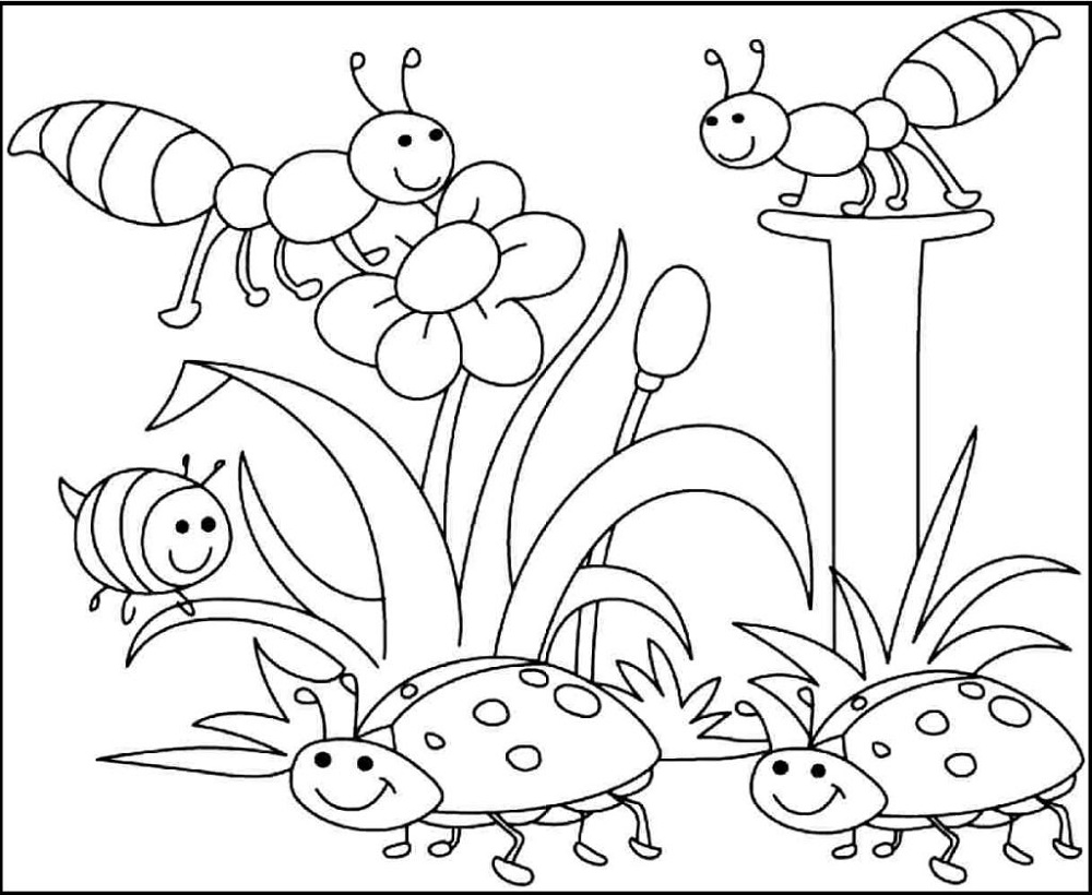 Free Childrens Colouring Spring