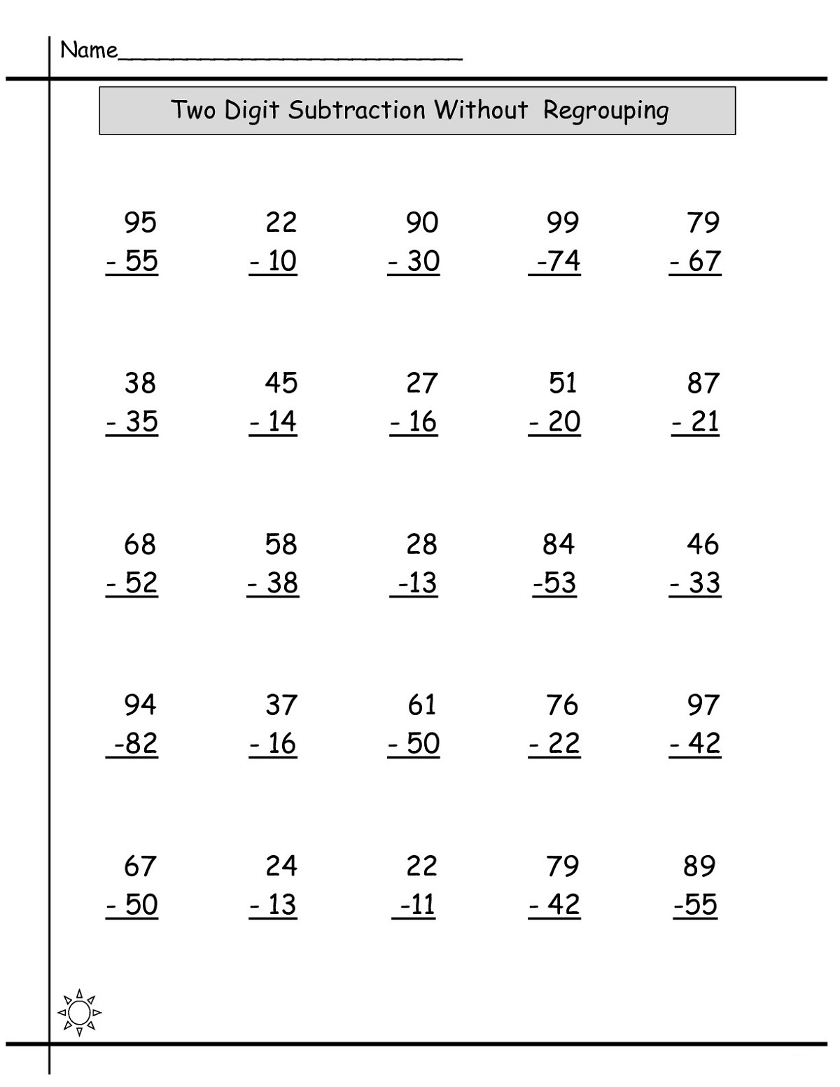 Math Sheets Subtraction