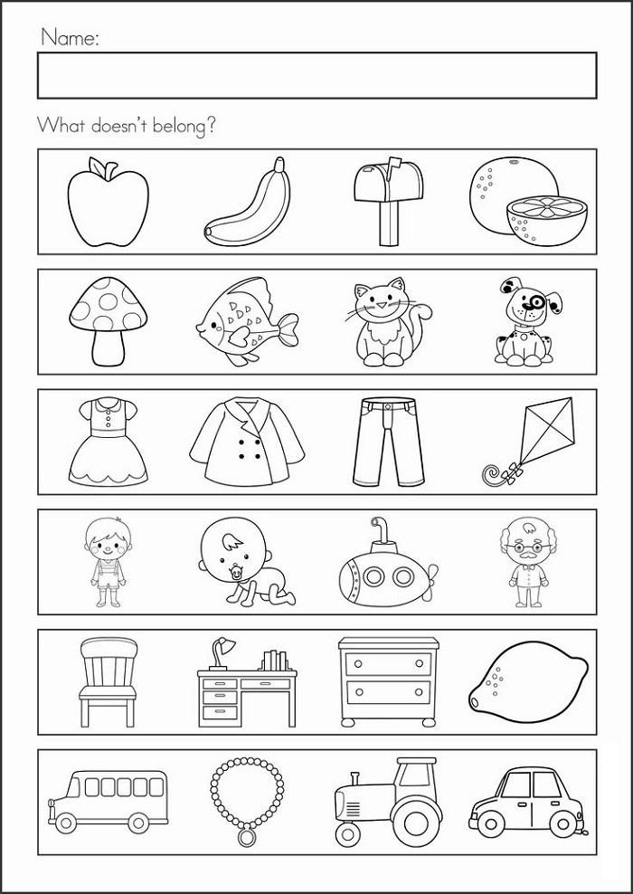 School Worksheets for Kindergarten