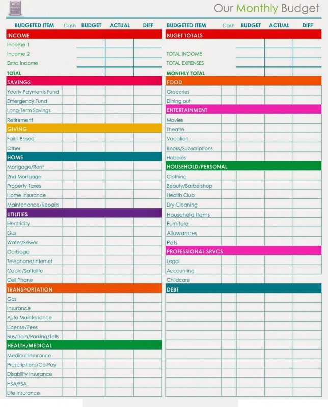 Worksheet Download Budget
