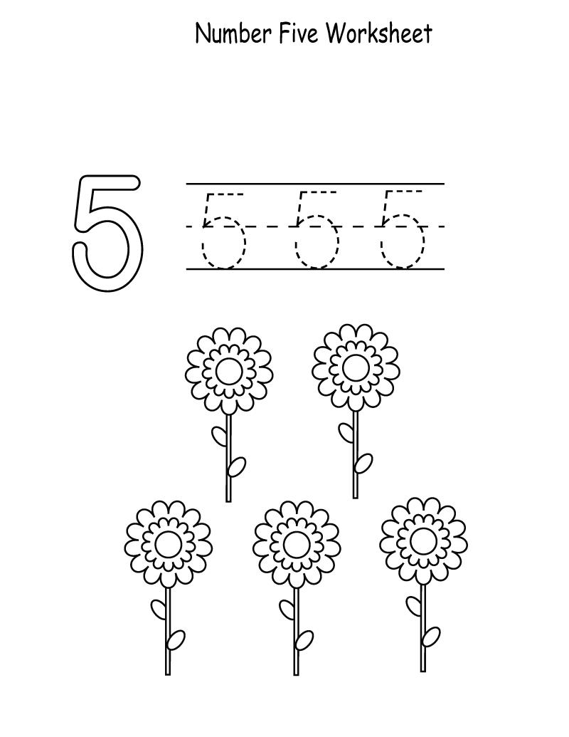 5 worksheet for kindergarten easy