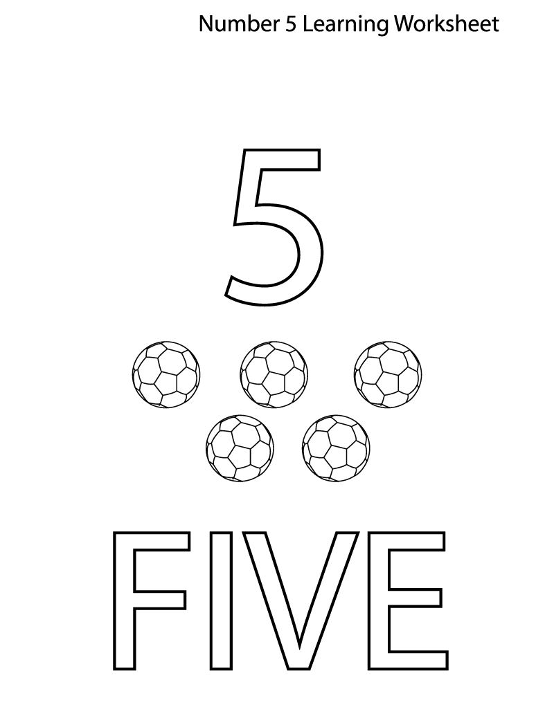 5 worksheet for kindergarten page