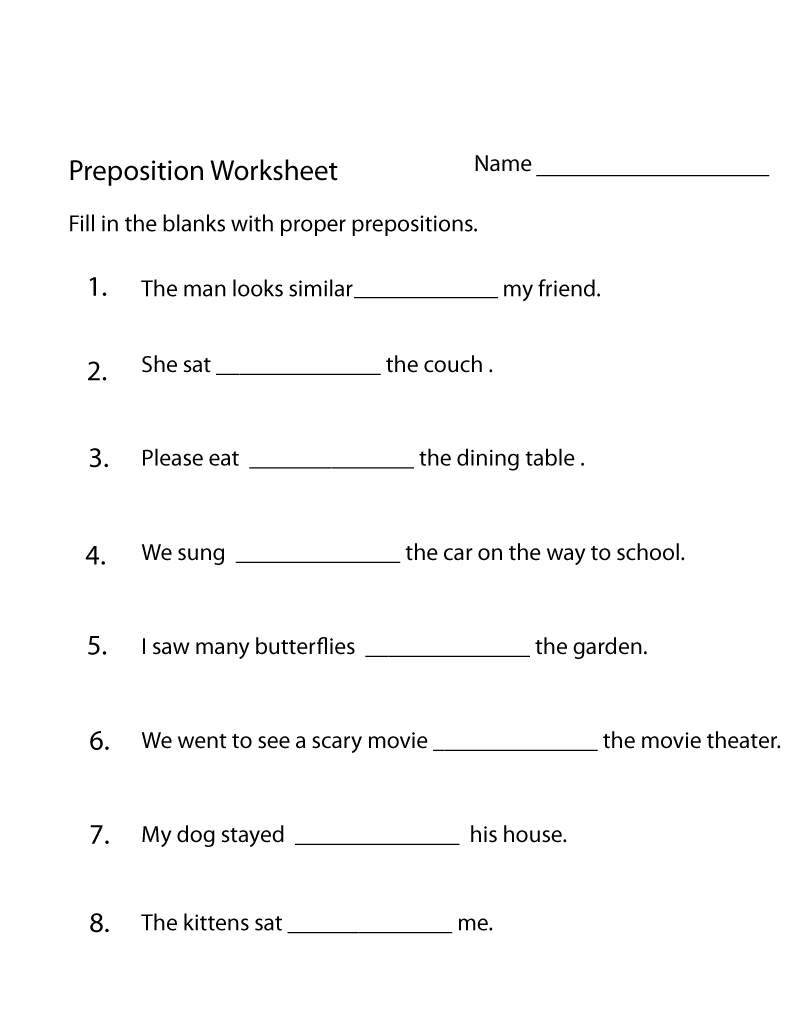 Practice Worksheet Preposition