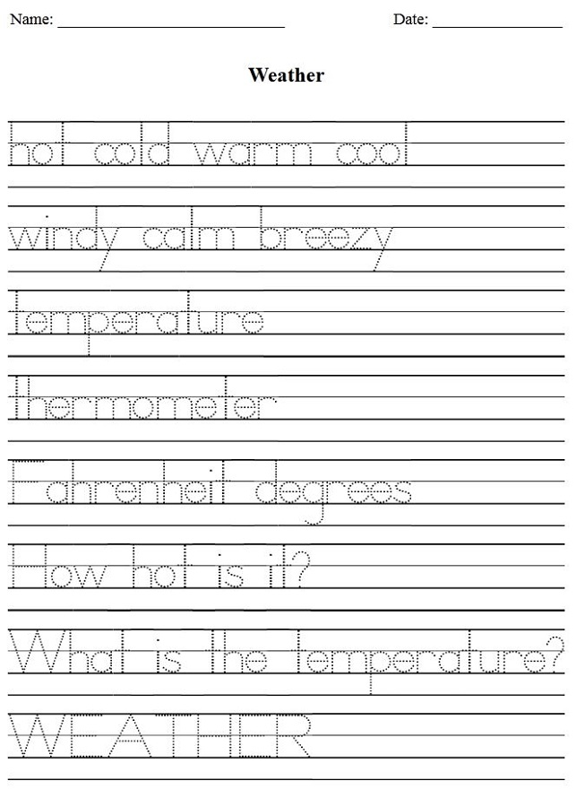 Printing Worksheets Weather