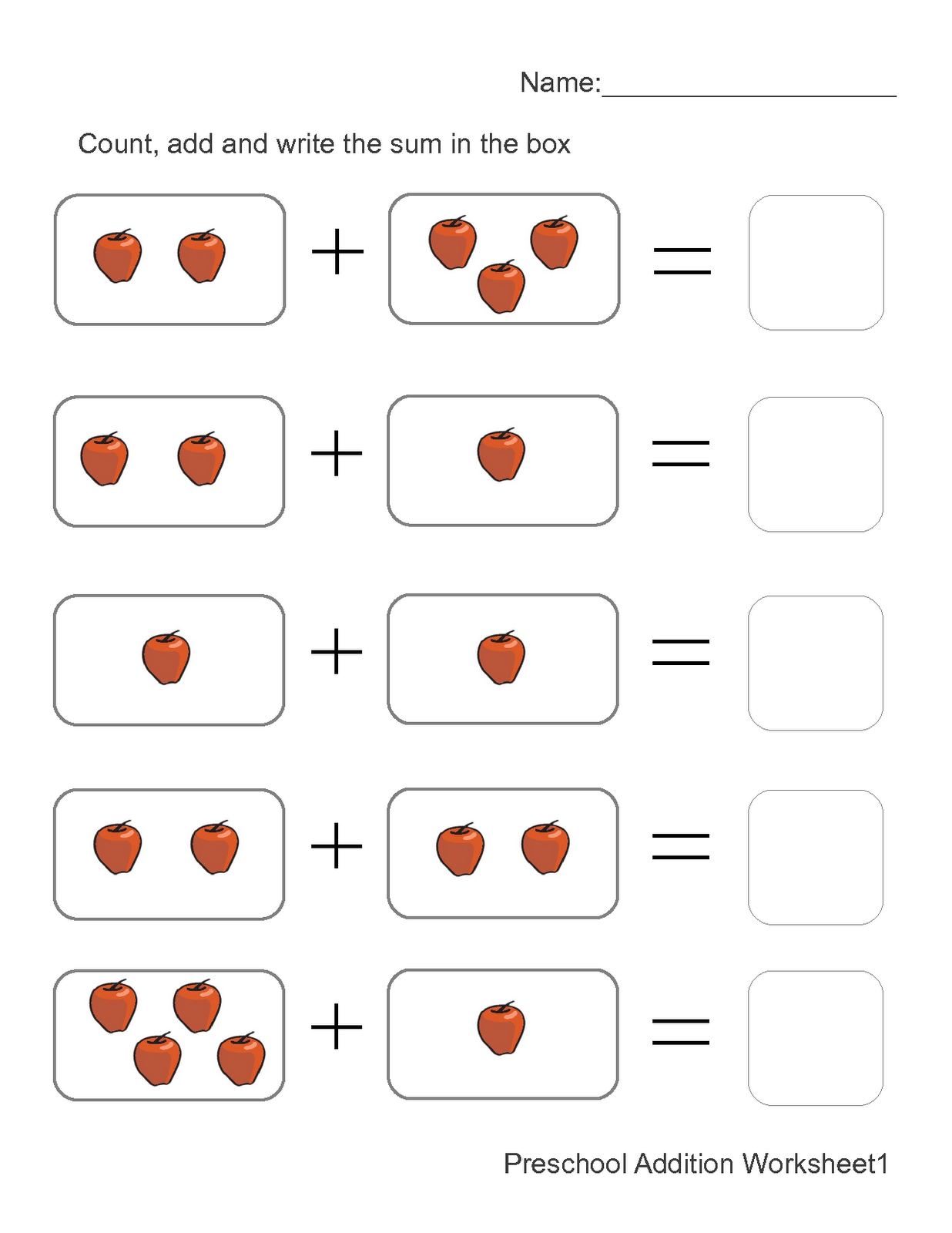 Worksheet for Kids Addition