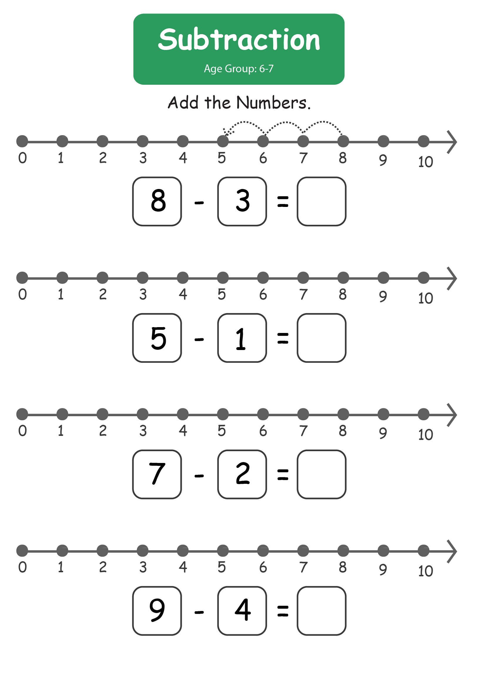 Worksheet for Kids Subtraction