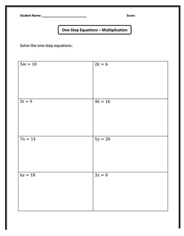 Worksheets4kids Equation