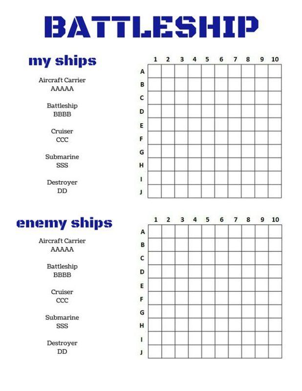 Free Printable Games Battleship