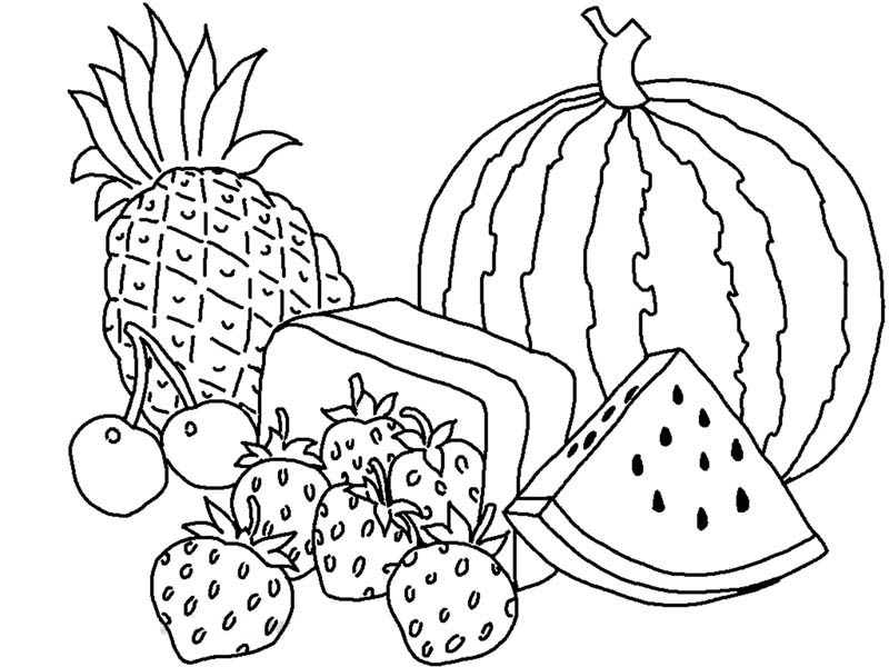 Printable Coloring Pages for Kids Fruits