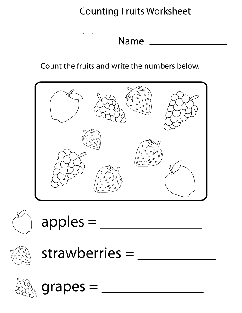 Printable Sheets Fruit