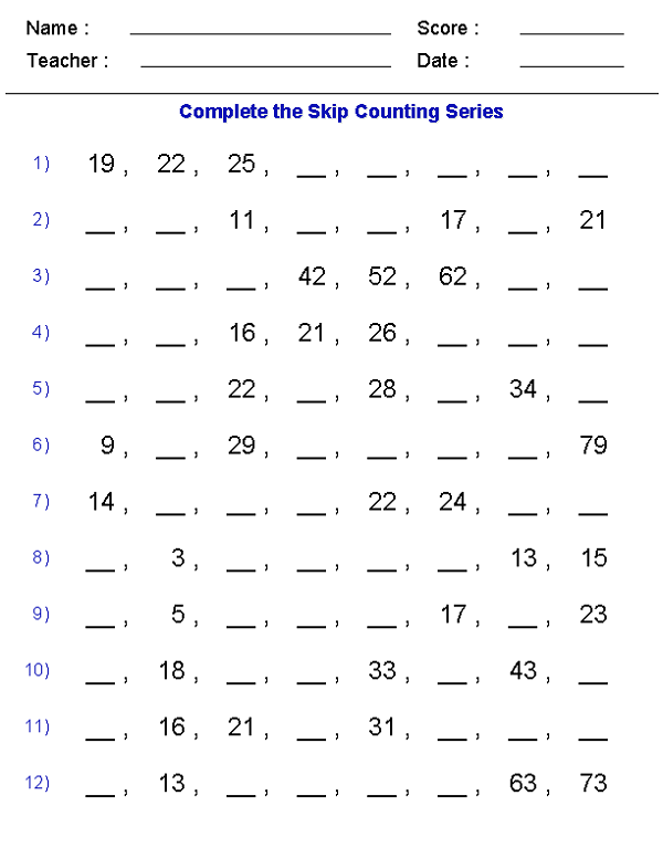 Work Sheets Math