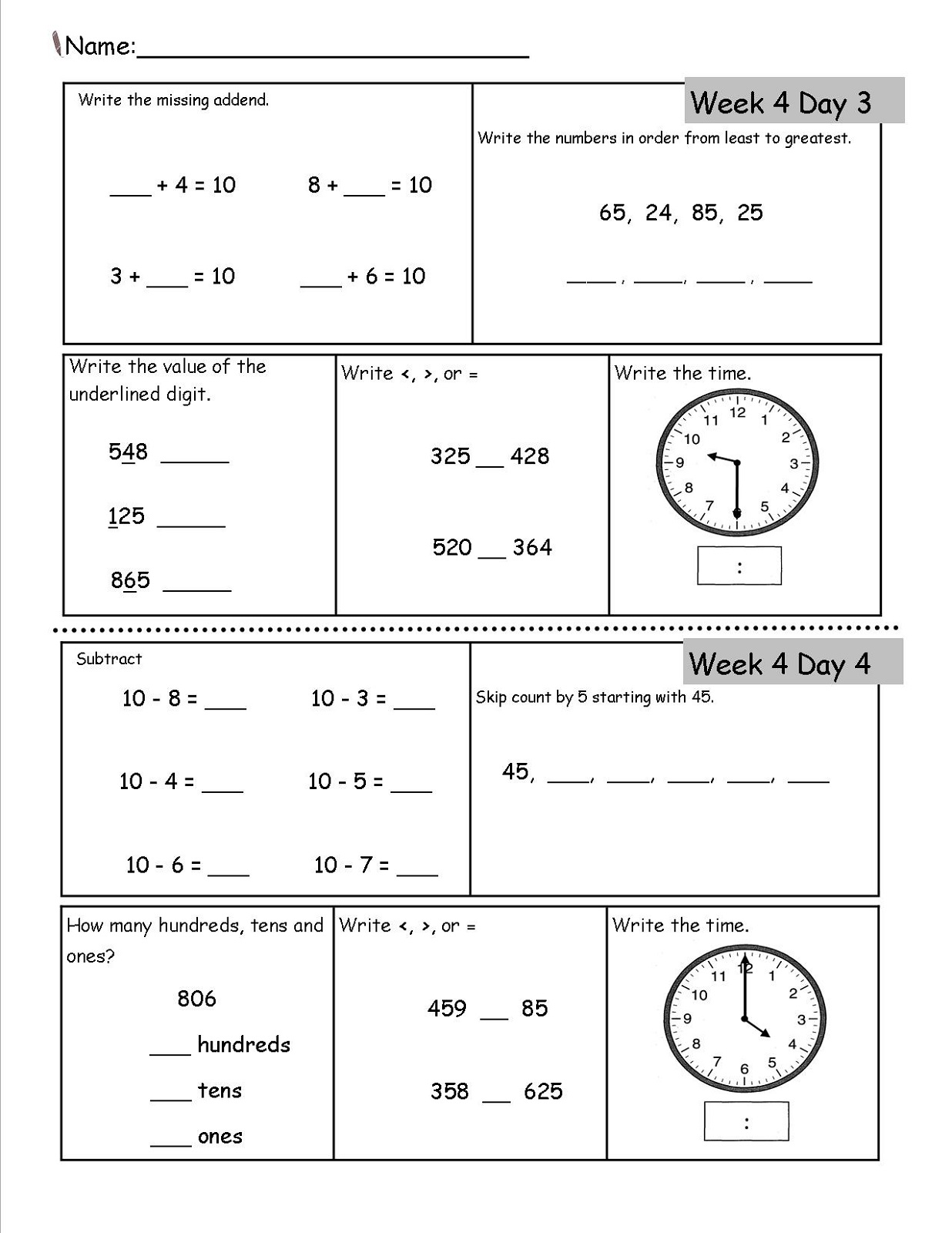 2nd Grade Worksheets Math