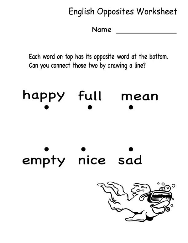 English for Kindergarten Free Worksheet Opposites