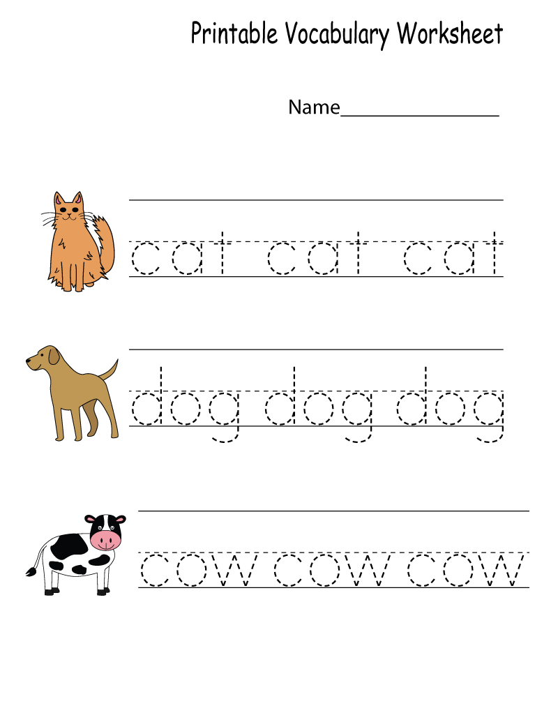 English for Kindergarten Free Worksheet Vocabulary