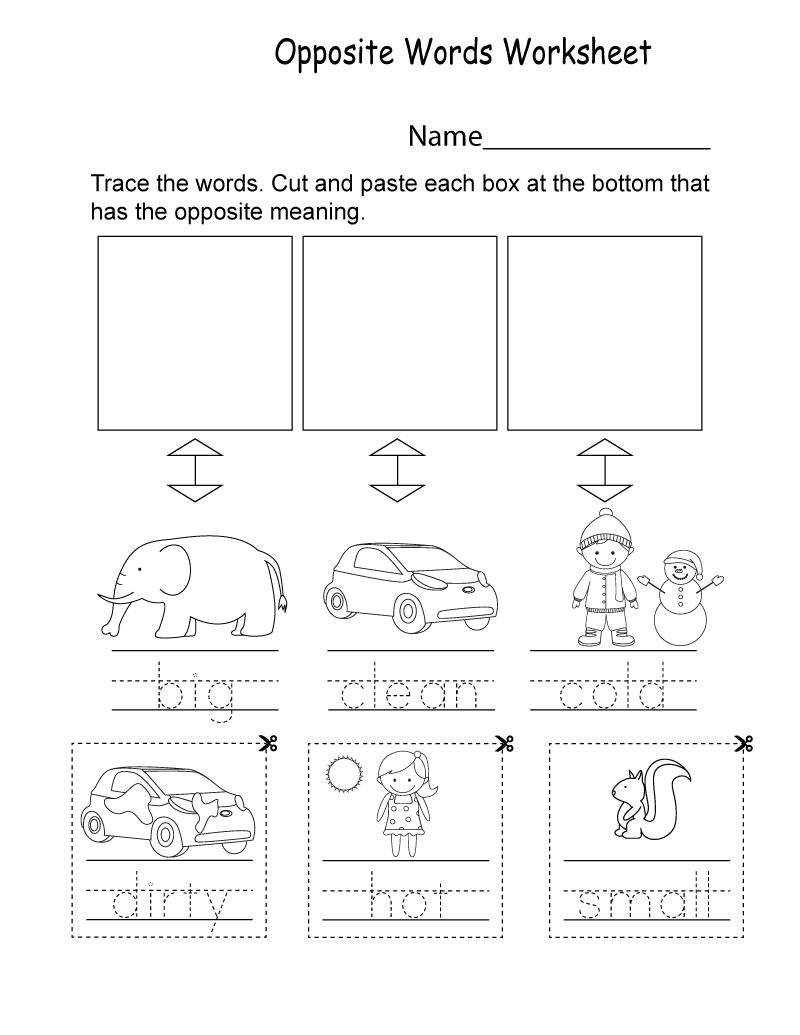 English for Kindergarten Free Worksheet Words