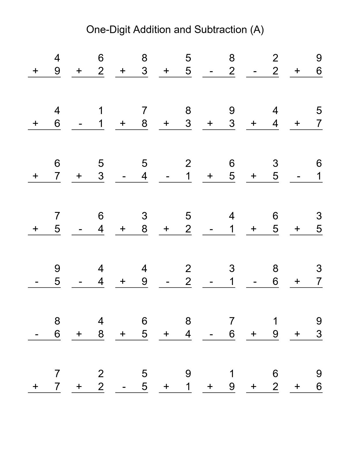 Addition and Substraction Worksheets for 1st
