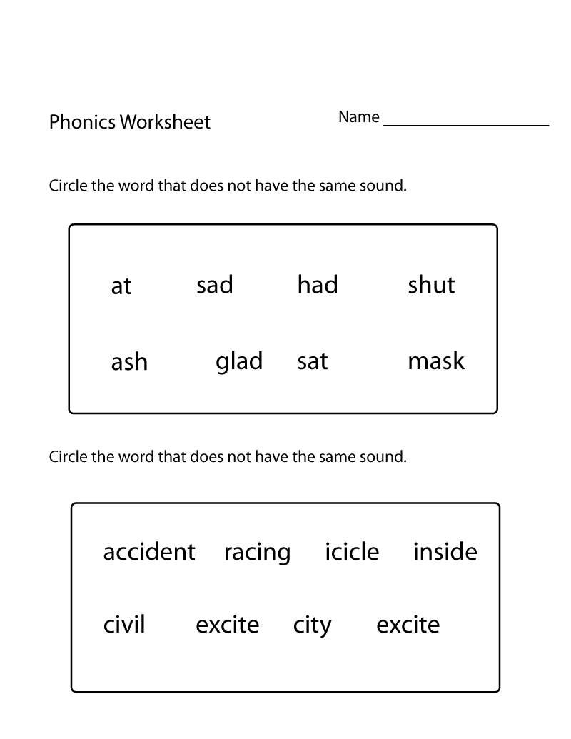 First Grade English Worksheets Phonics