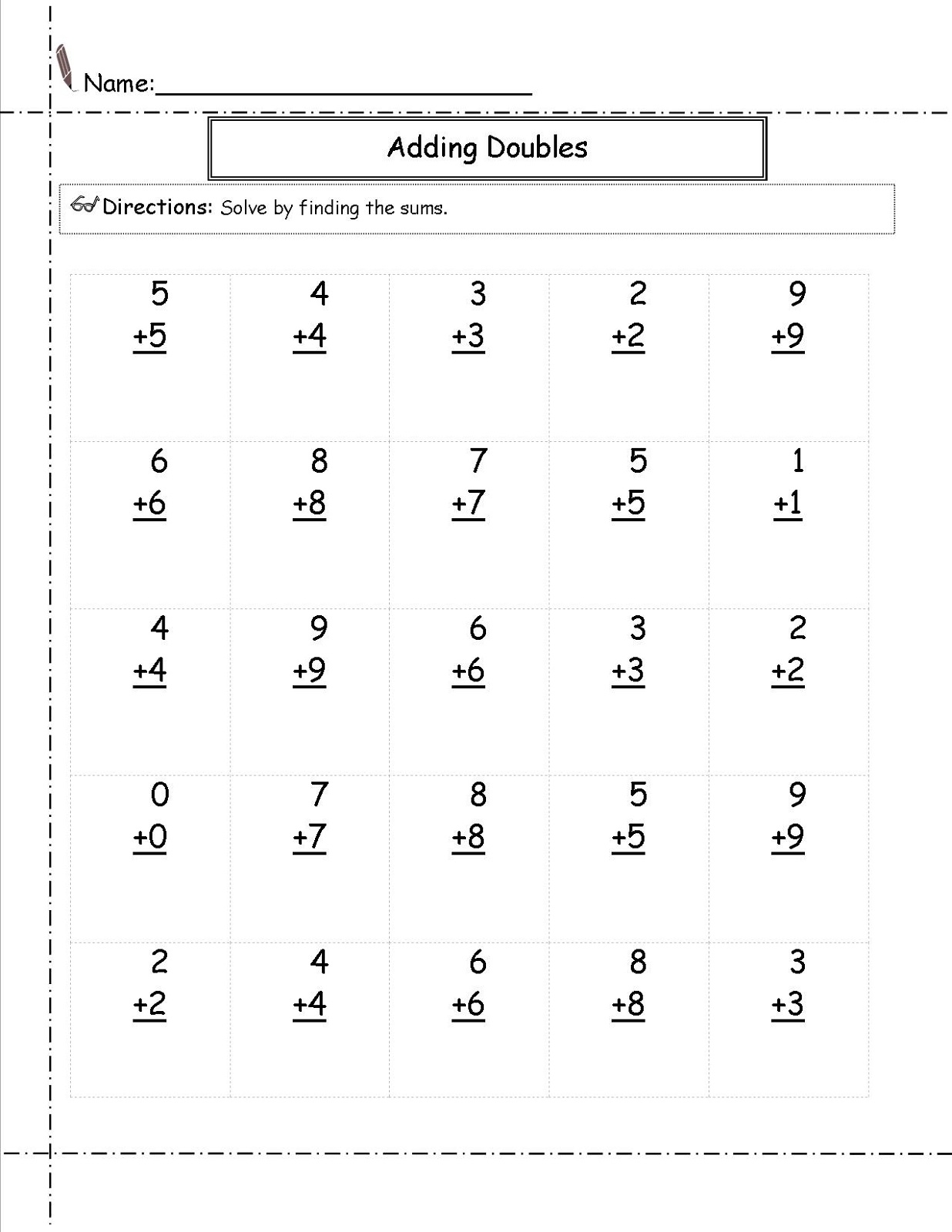 Free Addition Worksheets Doubles