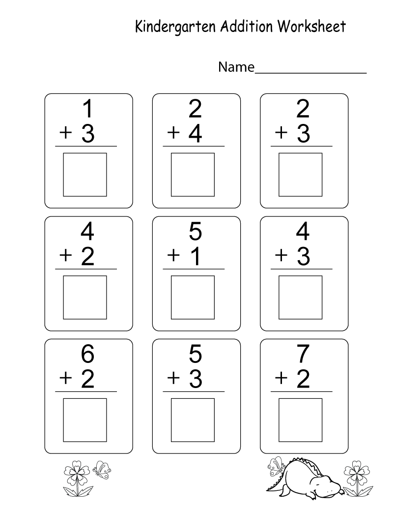 Kindergarten Learning Worksheets Addition
