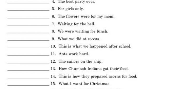 Year 4 English Worksheets Free Printable Sentences