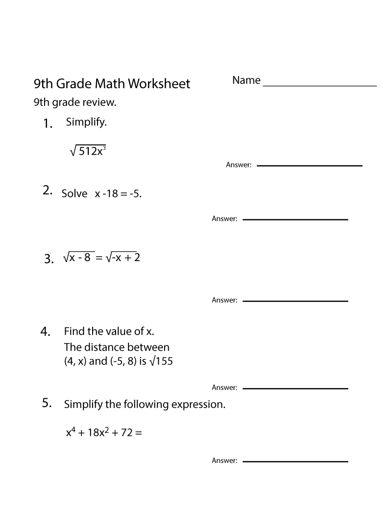9th Grade Math Worksheets Algebra