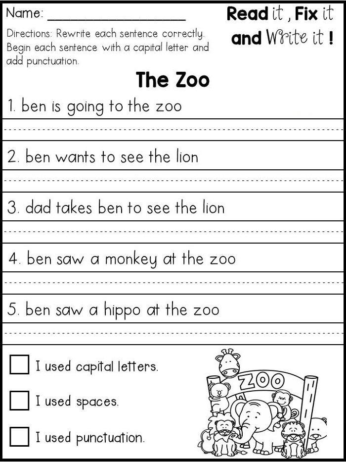 First Grade Writing Worksheets Zoo