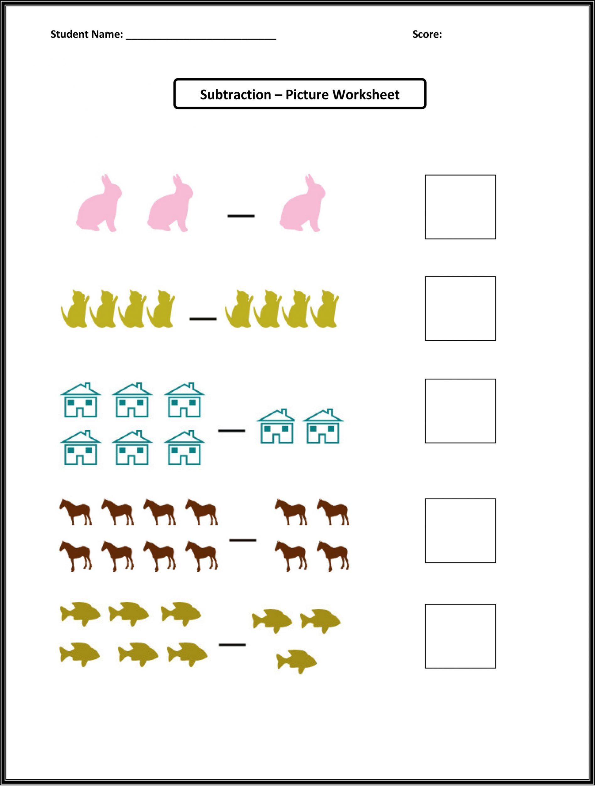 Free Toddler Worksheets Subtraction