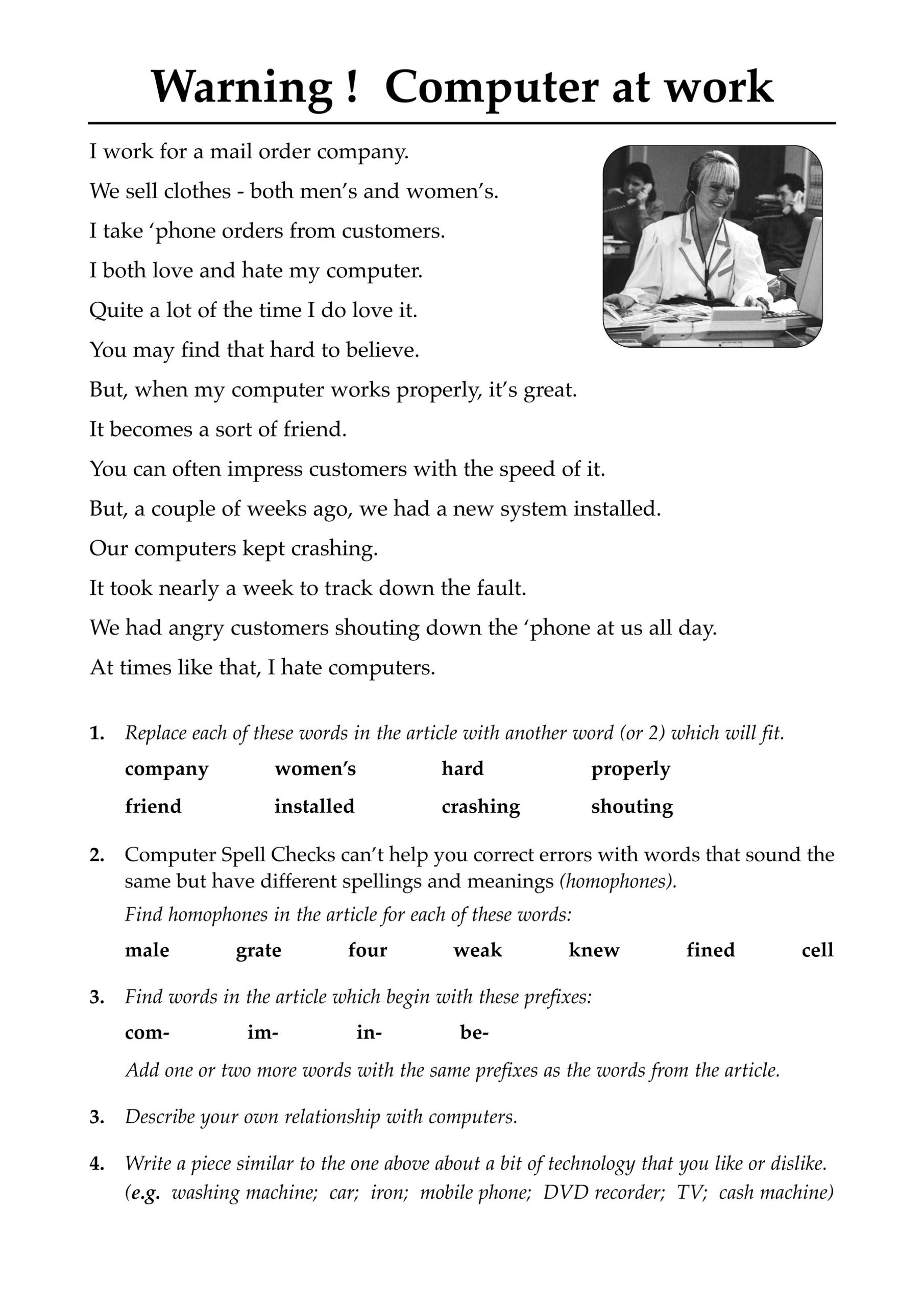 Literacy Worksheets Computer