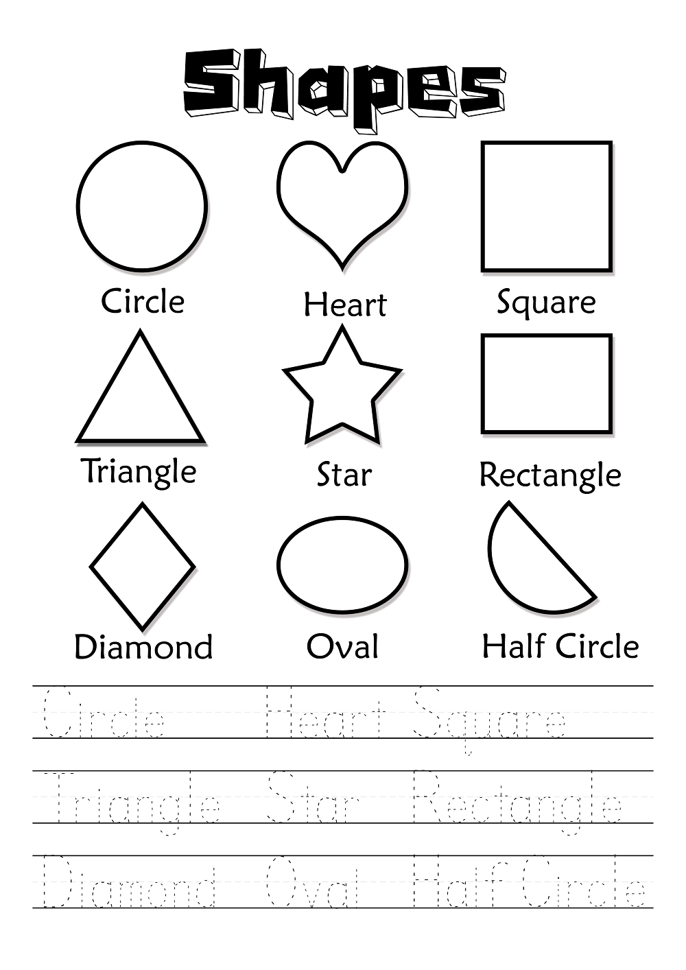 English Worksheets for Children Shape