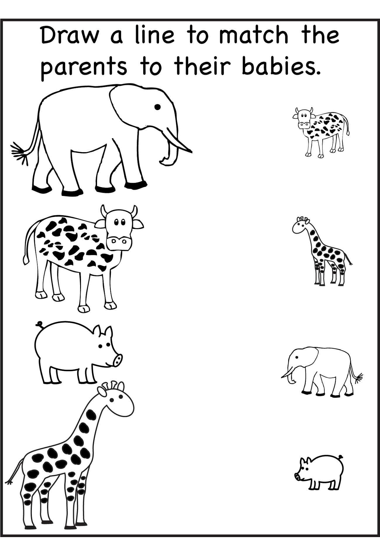 Animal Worksheet for Nursery Class