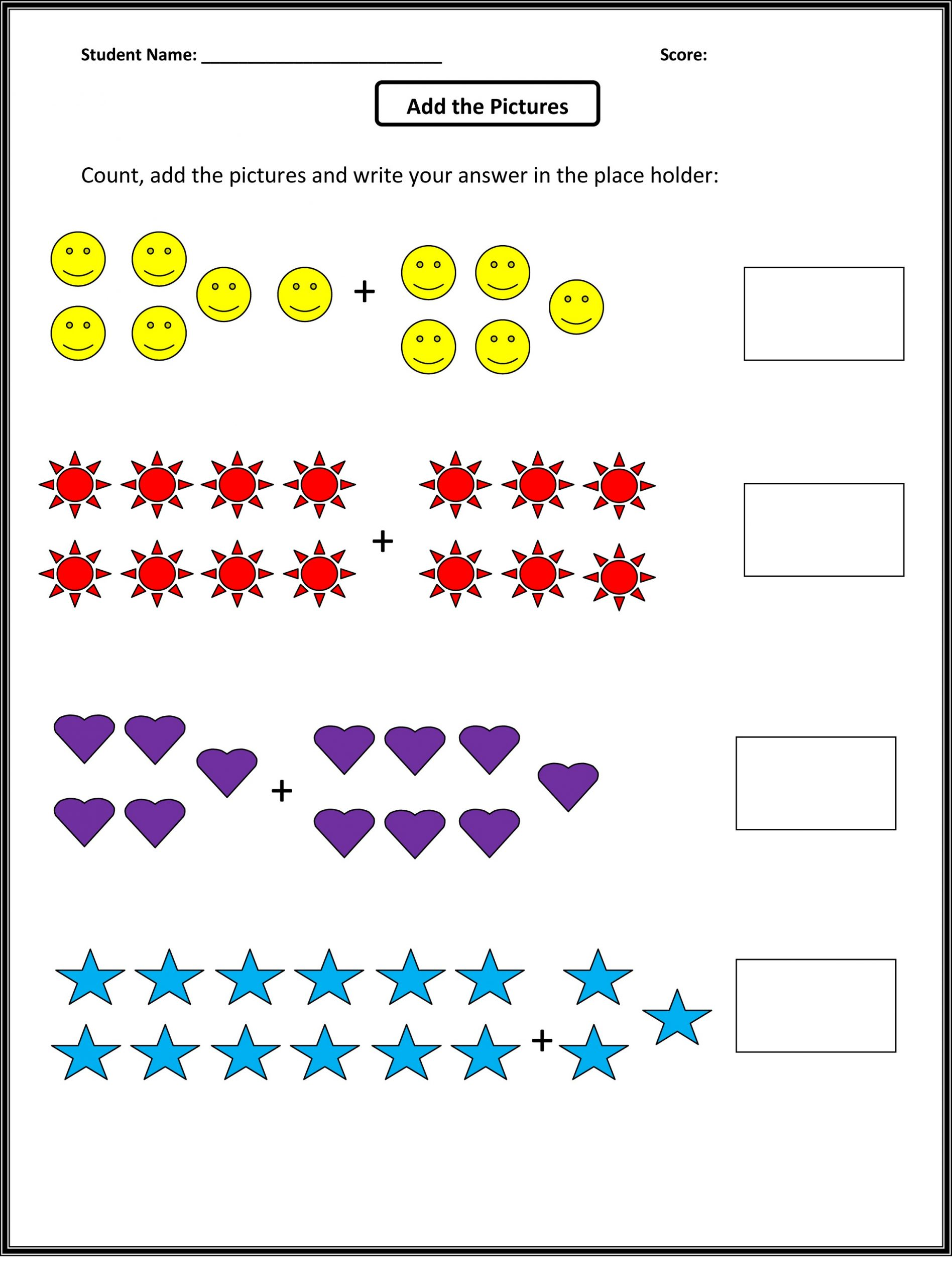 Free Math Worksheets for Grade 1 Counting