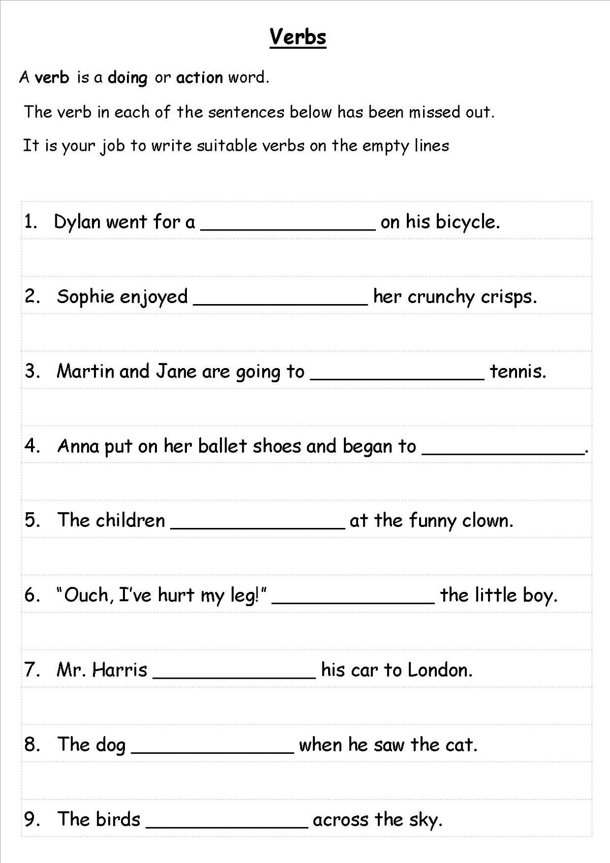 Ks2 English Worksheets Verbs