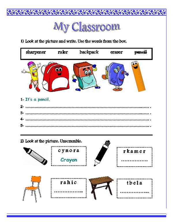 Classroom Worksheets Boys